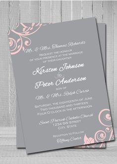 Grey and pink wedding invitation