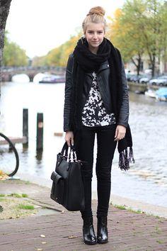 Motorcycle Jacket + Print Tank + Black Skinny Jeans + Black Ankle Boots + Black Fringe Scarf