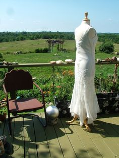 Wedding dress 1920s vintage inspired white with crystal beadwork sequins flutter skirt flapper gown retro. $435.00, via Etsy.