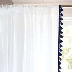 French Tassel Window Panel – Navy | Serena & Lily