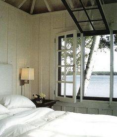 interior, lake houses, bedroom decor, dream, beach houses, lakes, white, cottage bedrooms, bedroom windows