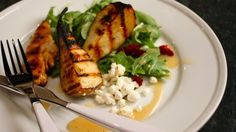 """Gluten Free"" Grilled Pear & Chicken Arugula Salad."