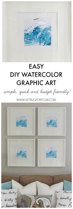 Easy DIY Watercolor Graphic Wall Art | www.settingforfour.com