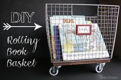 DIY Rolling Book Basket - This will be great for organizing all of our library books.