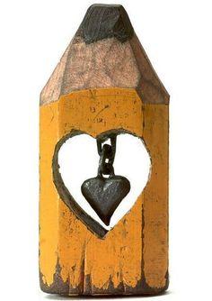 miniatur, hand, crayon, heart, chain, artist, sculptur, garden, pencil art