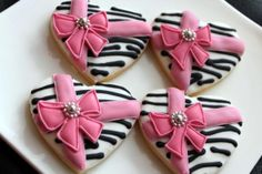 bow cooki, decor heart, pumpkin cupcakes, cooki decor, pink bow, heart shaped cookies, bows, zebra, decor cooki
