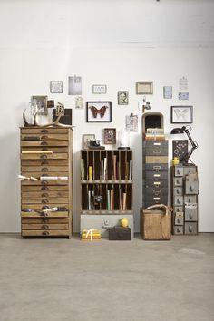 decor, interior design, studio, idea, inspir, hous, vintage office, drawer, workspac