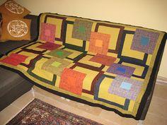 blanket, quilt, weavett afgan, loom weav, tumblingsquaresafghan 012