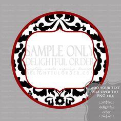 Editable Black & White Damask Label/Tag