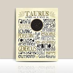 Zodiac Typography Print * Taurus