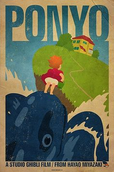 Ponyo Poster, love! film, hayao miyazaki, studio ghibli, fan art, bacon, ponyo, posters, room art, poster prints