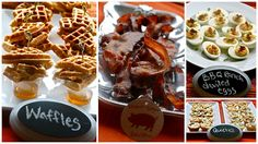 Bacon Waffles, Brown Sugar Bacon, BBQ Ranch Deviled Eggs, and Mini Quiches for Bacon Bridal Shower Brunch.