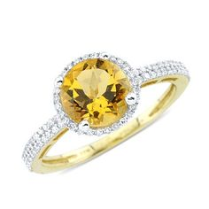 Solitaire Round Cut Prong Set Citrine Diamond Gemstone Ring in 14K Yellow Gold    $270.00