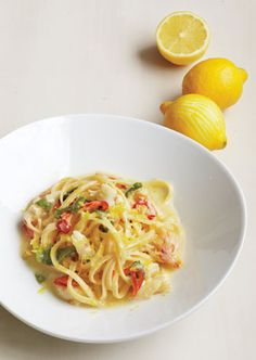 Linguine with crab, lemon, chile, and mint