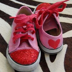 pink and glitter red heart shoes