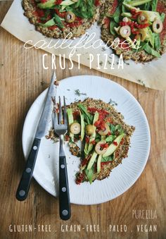 Pure Ella | Cauliflower Crust Pizza #glutenfree #grainfree #paleo #vegan #dairyfree #eggfree