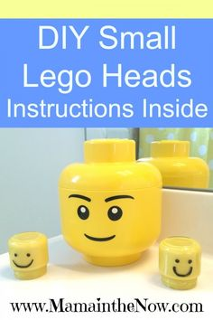 DIY Small Lego Heads Unique DIY accessories included that you wouldn't normally think of for a LEGO bathroom! #LEGO #Bathroom