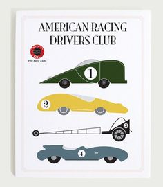 Vintage race car poster for nursery wall