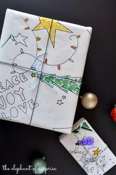 doodl wrap, christma help, colors, wrap paper, christma packag, christma fun, black, coloring books, diy christmas