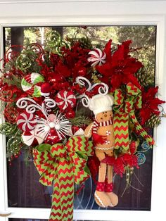 Gingerbread Man Christmas Wreath by WreathsEtc on Etsy