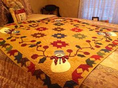 Appliqued Snowman Table Topper Quilt from Kim Diehl's Simple Seasons Book.