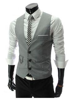Steampunk idea: Men's Formal Slim Fit Pocket Design Casual Fashion V-neck Vest Coat