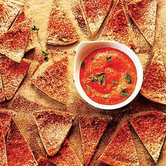 Homemade Pita Chips with Red Pepper Dip | CookingLight.com