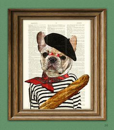 Pierre the French Bulldog dog with beret and by collageOrama, $6.99
