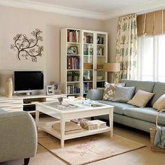 beige, blue, white living room