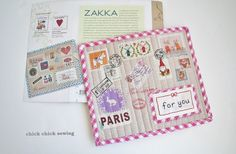 Airmail mug rug from Zakka Handmade book! By chick chick sewing | Flickr -- appliqued handmade fabric stamps
