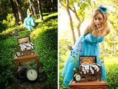 wonderland inspir, clock, bridal portraits, alice in wonderland, inspir shoot, alic idea, photo shoots, blues, fashion shoots