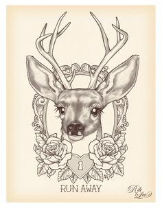 run away deer - rik lee #Tattoos #TattooFlash #Flash