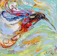 Original oil painting Hummingbird Dance palette knife painting by Karensfineart