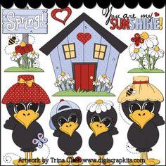 Spring Crows 1 Clip Art - Original Artwork by Trina Clark