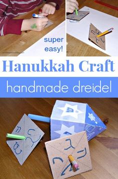 Such an easy way to make a dreidel! Singing the Dreidel Song at the top of your lungs optional- but encouraged.