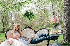 Romantic Alice In Wonderland Wedding  #pink #bunny #bride #groom #lace #vintage #roses