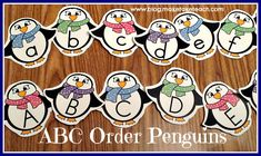 Free ABC Order penguins for both upper- and lowercase letters.