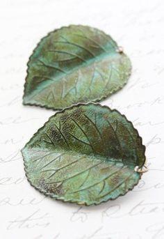 Verdigris Leaf Earrings Jade Green Patina