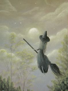 "(Witch In Training) Yr 2011. ACEO 2.5""x3.5"" acrylic on watercolor paper. (SOLD) by Philippe Fernandez"