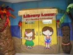 Book Fair Luau library entrance (Source: Trussville City Schools in Trussville, AL)