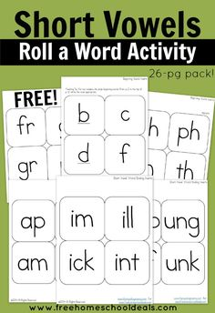 FREE Instant Download: Short Vowels Roll a Word Activity