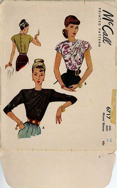 McCall 6717 - 1940s Blouse Pattern with asymmetrical shoulder pleat detail.