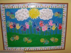 Spring Hand Prints Bulletin Board