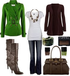 """""""Green and Brown. Love this fall combo!"""" by chelseawate on Polyvore"""