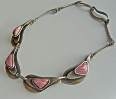 Maxwell Chayat Sterling and Stone Modernist Necklace