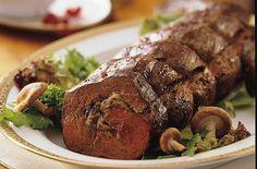 Gorgonzola- and Mushroom-Stuffed Beef Tenderloin with Merlot Sauce Recipe christmas dinners, christmas dinner recipes, mushroom stuf, sauce recipes, mushroomstuf, merlot sauc, recipes for dinner with beef, dinner tonight