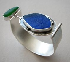 Check out the deal on Sea Glass Cuff Bracelet in Cobalt and Emerald Beach Glass at Eco First Art