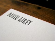 Letterpress business cards for David Airey