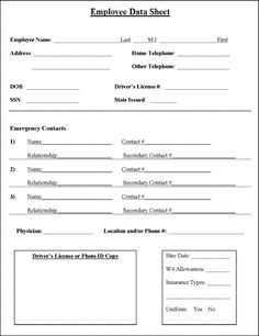 personal contact information form template