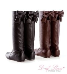 Leather boots with bows... fashion, cloth, style, leather boot, bows, closet, tall boot, shoe, boots